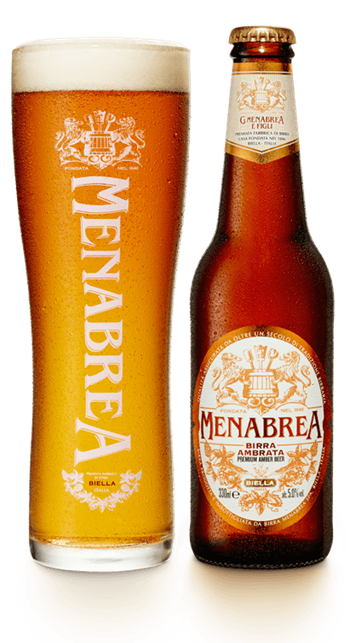 A bottle and glass of Menabrea Ambrata