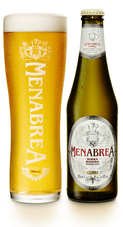 bottle of menabrea lager