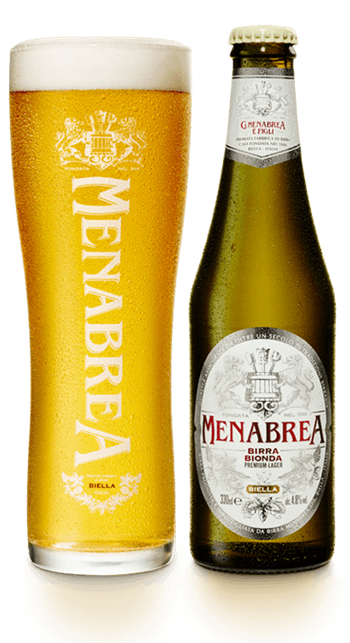 A bottle and glass of Menabrea Birra